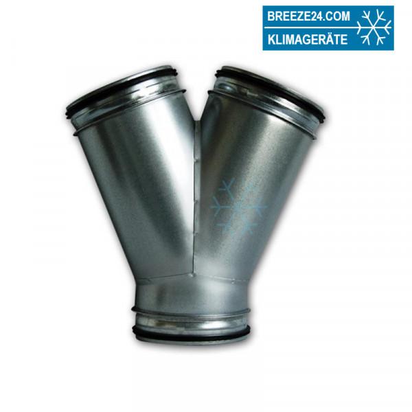 Wickelfalzrohr Hosenstück 45° verzinkt mit Dichtung (DN 080/080 - 800/800 mm)
