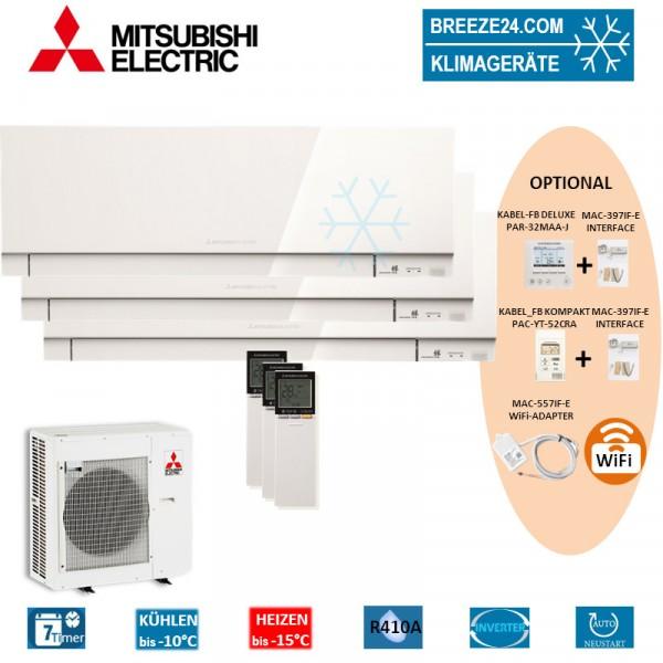 Set 3 x MSZ-EF35VE3 W Premium Wandgeräte + MXZ-4E83VAHZ
