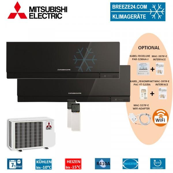 Set 2 x MSZ-EF25VE3 B Premium Wandgeräte + MXZ-2D42VA