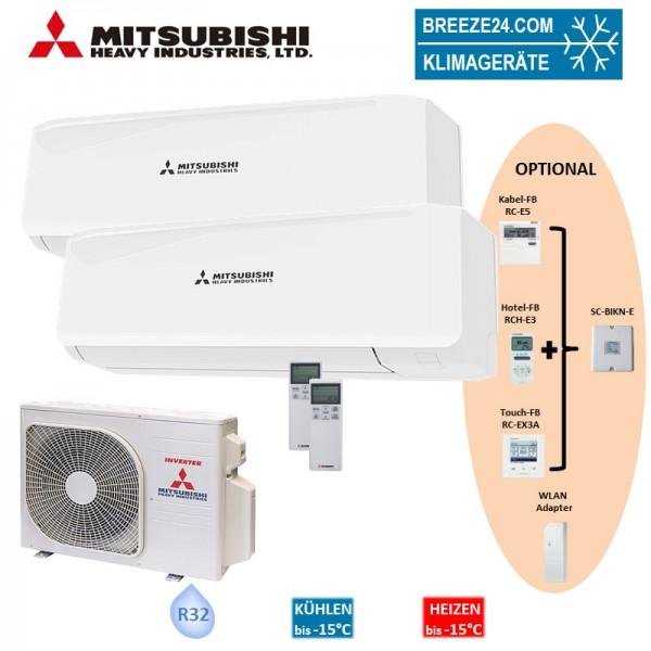 Mitsubishi Heavy Klimaanlage Wandgerät SRK 20 ZS-W + SRK 25 ZS-W + Außengerät SCM 40 ZS-W Set