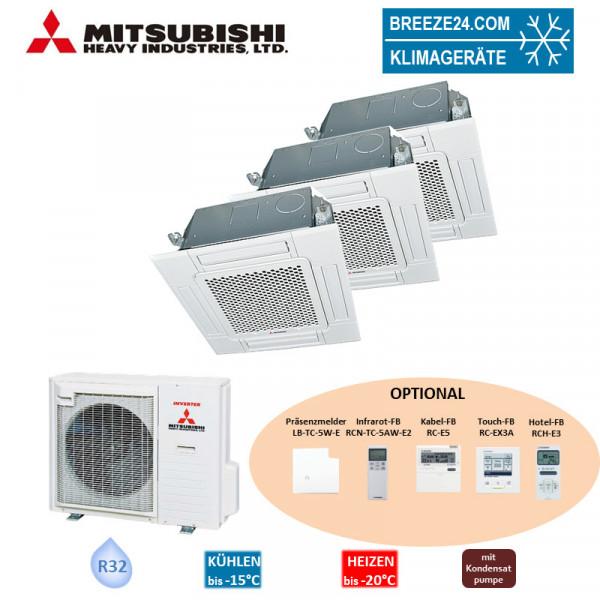 Mitsubishi Heavy Set 3 x 4-Wege-Deckenkassette Standardpaneel 2,5/5,0/6,0 kW - FDTC 25 VH + FDTC 50