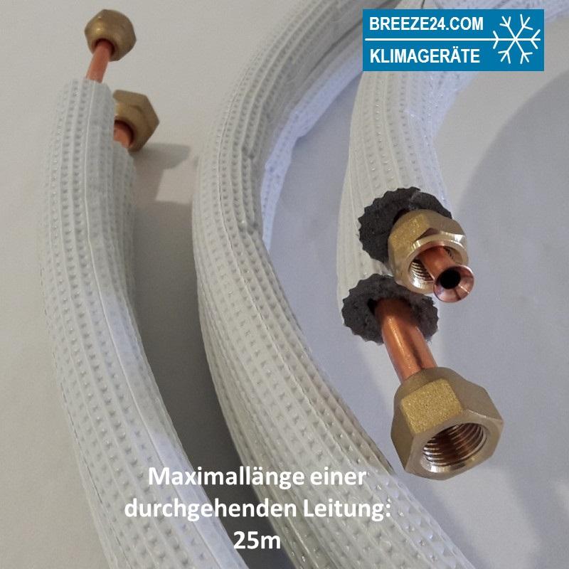 """3/8"""" / 5/8"""" (9,52/15,88mm) Kältemittelleitung isoliert und gebördelt"""
