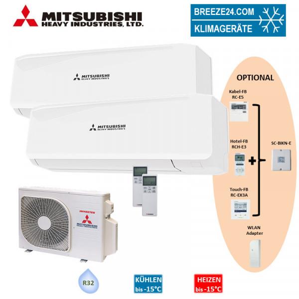 Mitsubishi Heavy Klimaanlage Wandgerät SRK 20 ZS-W + SRK 35 ZS-W + Außengerät SCM 40 ZS-W R32 Set