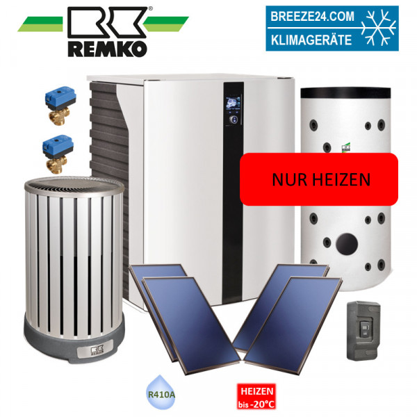 Remko Set Wärmepumpe HTS 90 Paket Frankfurt Solar (Alu/Holzoptik) Nur Heizen