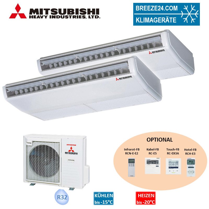 Set 2 x FDE 50 VH Deckenunterbaugerät + SCM 80 ZS-W Mitsubishi Heavy Klimaanlagen