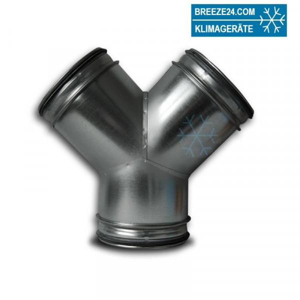 Wickelfalzrohr Hosenstück 90° verzinkt mit Dichtung (DN 080/100 - 800/800 mm)