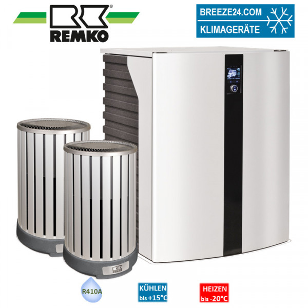 Remko Set HTS 200 + 2x Wärmepumpe (Alu/Holzoptik)10,0 kW