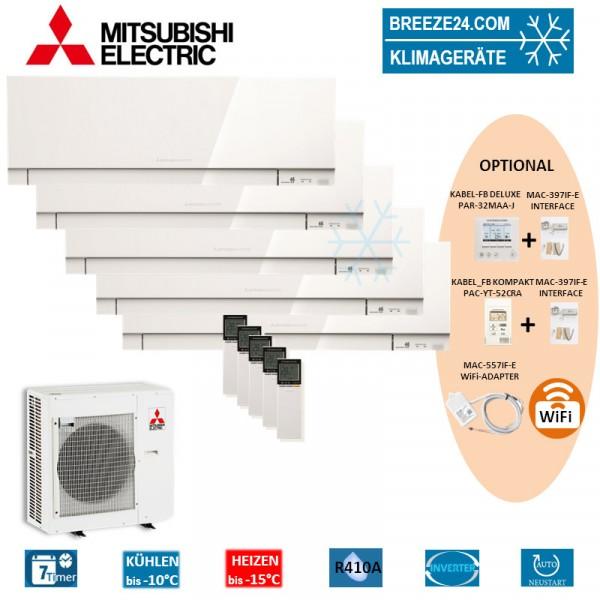Set 5 x MSZ-EF22VE3W Premium Wandgeräte + MXZ-5E102VA