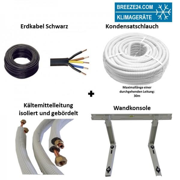 Installationspaket 6/12 Kältemittelleitungen gebördelt + Wandausleger