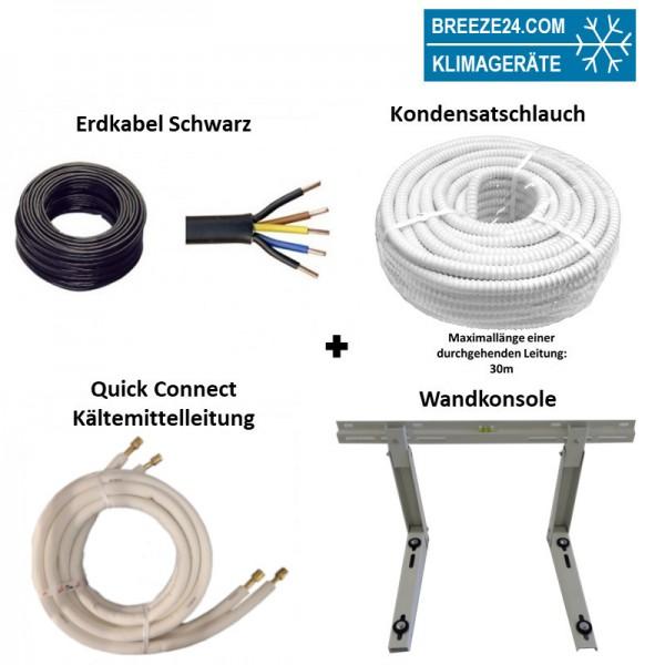 Installationspaket Quick Connect 1/4 / 3/8 (6,35/9,52mm) flexible Kältemittelleitungen + Wandausleg