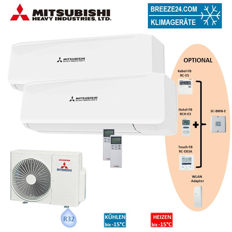 Mitsubishi Heavy Set 2 x Wandgeräte 3,5/5,0 kW - SRK 35 ZS-W + SRK 50 ZS-W + SCM 60 ZS-W R32 Klimaa