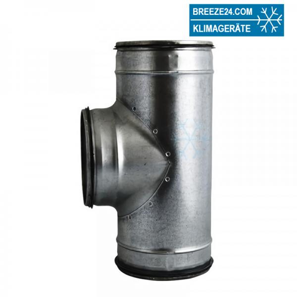 Wickelfalzrohr T-Stück 90° mm verzinkt mit Dichtung (DN 080/080 - 500/500)