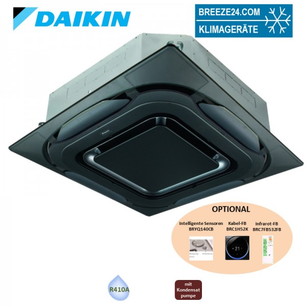 Daikin 4-Wege-Deckenkassette 9,0 kW - FXFQ80B VRV design schwarz mit Blende BYCQ140EPB - R410A