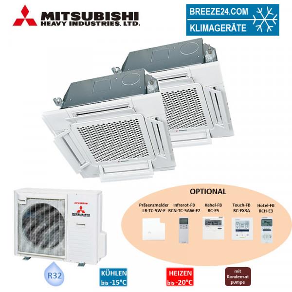 Mitsubishi Heavy Set 5,6 kW 2 x FDTC 60 VH 4-Wege-Deckenkassette Komfortpaneel + SCM 80 ZS-W R32 Kli