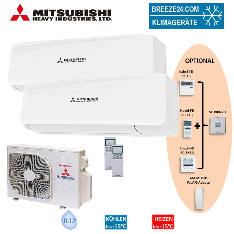 Mitsubishi Heavy Set 2 Wandgeräte je 2,0 kW 2 x SRK20ZS-W + Außengerät SCM40ZS-W Klimaanlage