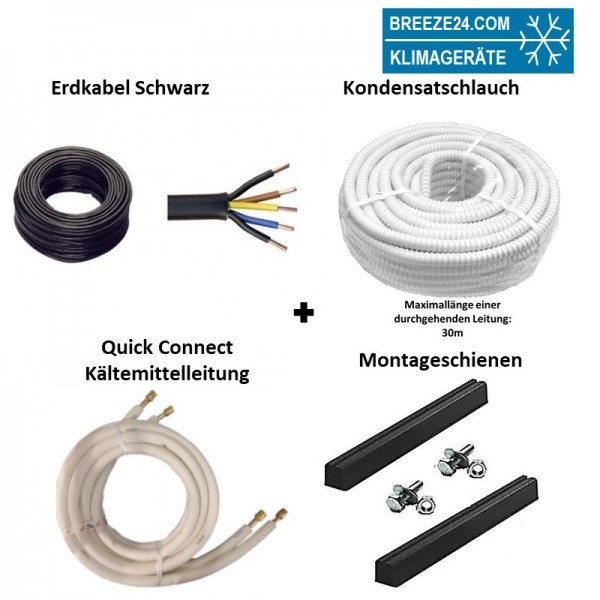 Installationspaket Quick Connect 1/4 / 3/8 (6,35/9,52mm) flexible Kältemittelleitungen + Montagesch