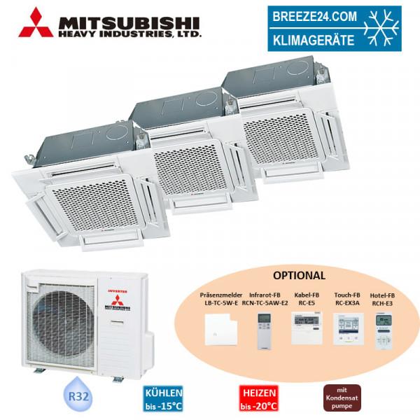 Mitsubishi Heavy Set 3 x 4-Wege-Deckenkassette Komfortpaneel 3,5/6,0 kW 2 x FDTC 35 VH + FDTC 60 VH