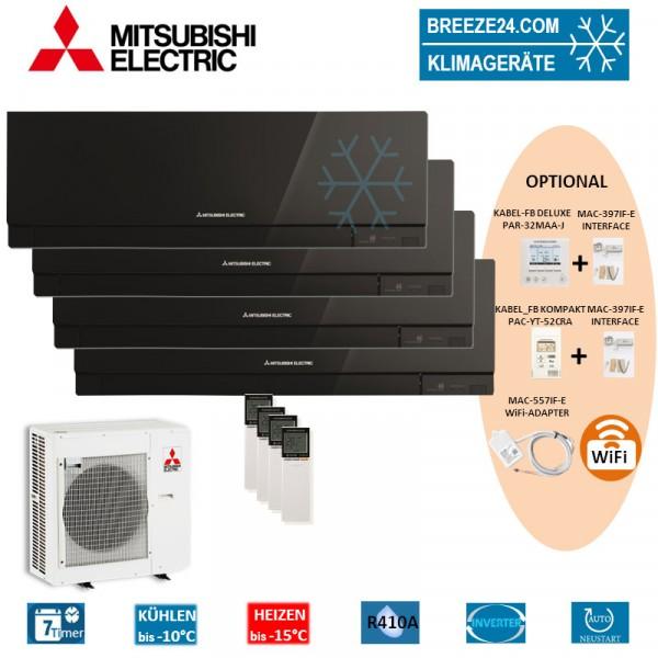 Set 4 x MSZ-EF22VE3 B Premium Wandgeräte + MXZ-4E83VA
