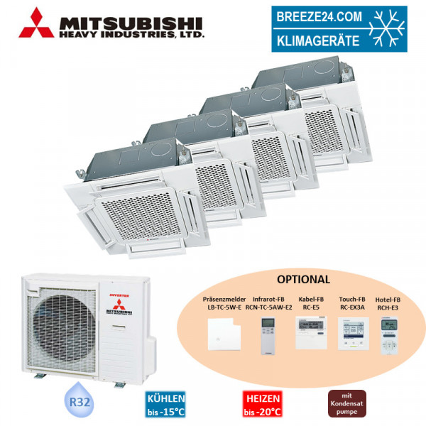 Set 3 x FDTC 25 VH + FDTC 60 VH 4-Wege-Deckenkassetten Komfortpaneel + SCM 80 ZS-W Mitsubishi Heavy