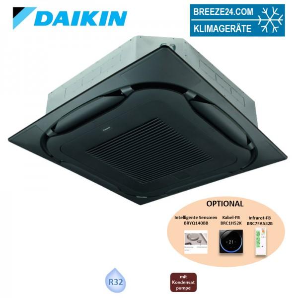 Daikin 4-Wege-Deckenkassette mit Blende selbstreinigend schwarz FXFA125A + BYCQ140EGFB VRV R32 - 14,