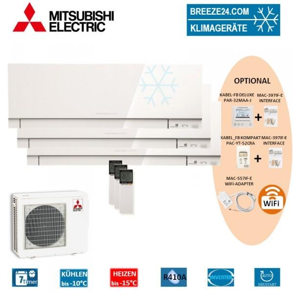 Set 3 x Premium Wangeräte 2 x MSZ-EF25VE3 W + MSZ-EF35VE3 W + MXZ-3E68VA