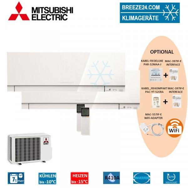 Set 2 x MSZ-EF25VG W Premium Wandgeräte + MXZ-2D53VA